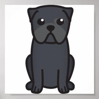 Pug Dog Cartoon Poster