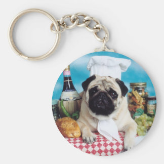 Pug Dog Chef Key Ring