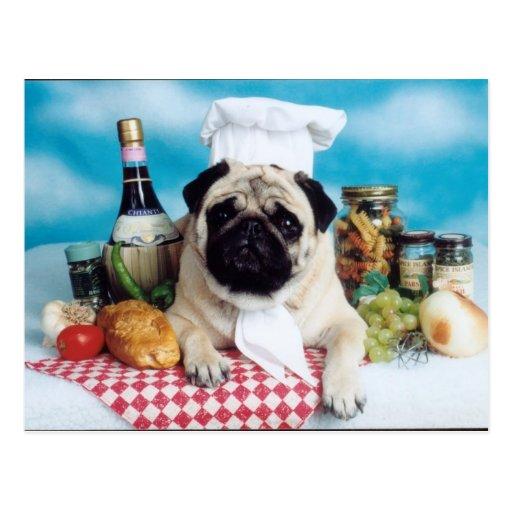 Pug Dog Chef Postcards
