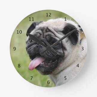 Pug dog cute beautiful photo round clock