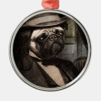 Pug Dog Dapper Gent Christmas Ornament
