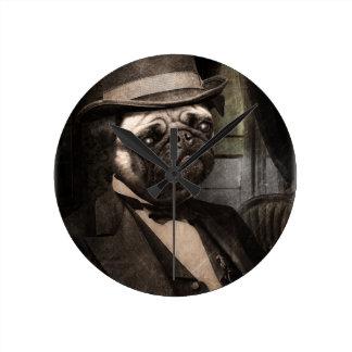 Pug Dog Dapper Gent Round Clock