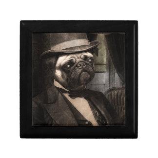Pug Dog Dapper Gent Small Square Gift Box