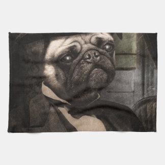 Pug Dog Dapper Gent Tea Towel