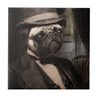 Pug Dog Dapper Gent Tile
