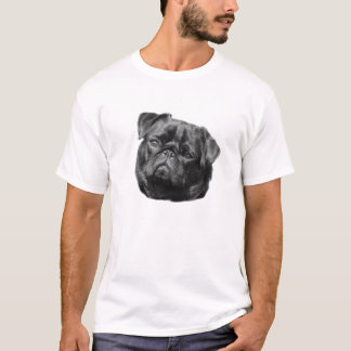 Pug dog face black cute mens white t-shirt