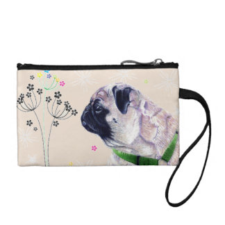 Pug Dog & Flowers Coin Purse