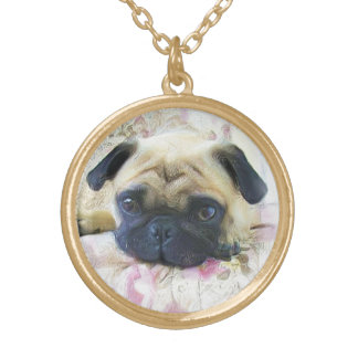 Pug dog gold plated necklace