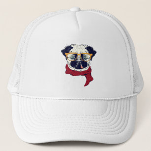 a7f30b89a47c6 PUG Dog in a sunglasses and neck scarf UNISEX Trucker Hat