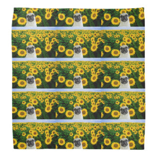 Pug dog in sunflowers bandana