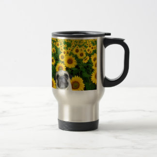 Pug dog in sunflowers travel mug