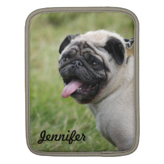 Pug dog ipad sleeve custom name cute photo