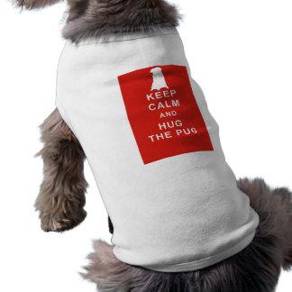 PUG DOG KEEP CALM HUG THE PUG T SHIRT CLOTHING SLEEVELESS DOG SHIRT