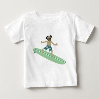 Pug Dog Longboard Surfer Baby T-Shirt