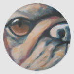 Pug dog lovers fun painting of your best friend round sticker