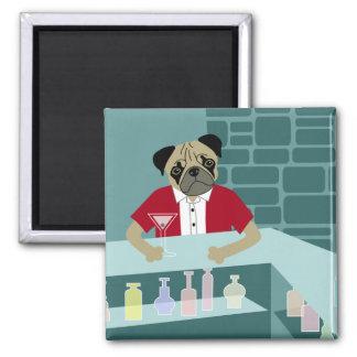 Pug Dog Martini Bar Magnet