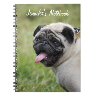 Pug dog notebook custom name, cute photo