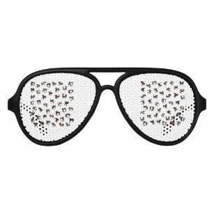 Pug dog pattern aviator sunglasses