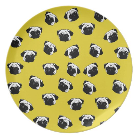 Pug dog pattern plate