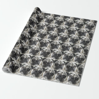 Pug dog pattern wrapping paper