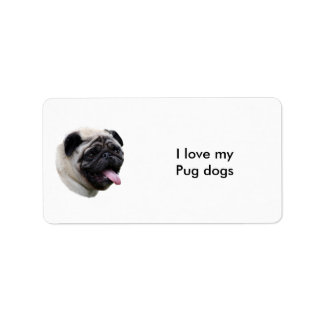 Pug dog pet photo portrait label