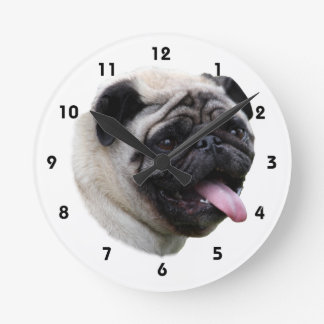 Pug dog pet photo portrait round clock