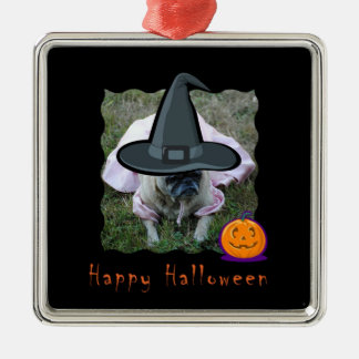 Pug Dog Princess Witch Halloween Ornament