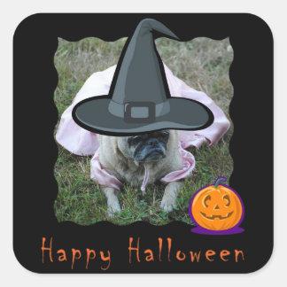 Pug Dog Princess Witch Halloween Sticker