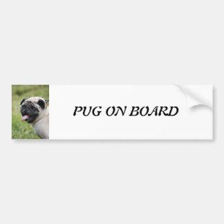 Pug dog, pug on board cute custom bumper sticker