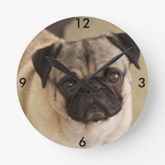 PUG DOG PUP ROUND CLOCK