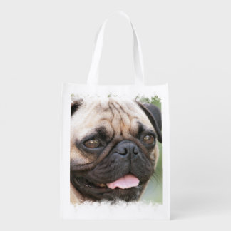 Pug Dog Reusable Grocery Bag