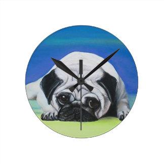 Pug Dog Round Clock