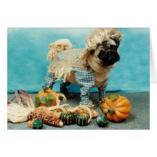 Pug Dog Scarecrow Card