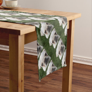 Pug dog short table runner