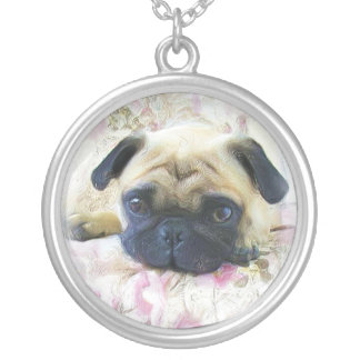Pug dog silver plated necklace