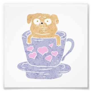 Pug dog sitting in purple  cup with heart. art photo