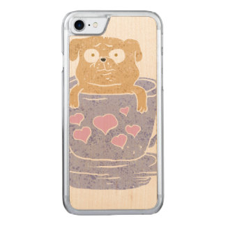 Pug dog sitting in purple  cup with heart. carved iPhone 8/7 case