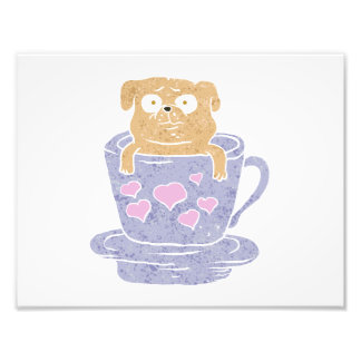 Pug dog sitting in purple  cup with heart. photo