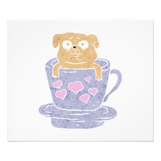 Pug dog sitting in purple  cup with heart. photographic print