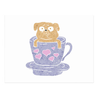 Pug dog sitting in purple  cup with heart. postcard