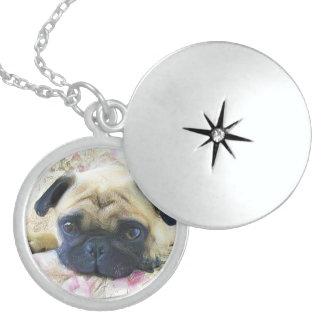 Pug dog sterling silver necklace