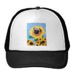 Pug Dog Sunflower Hat