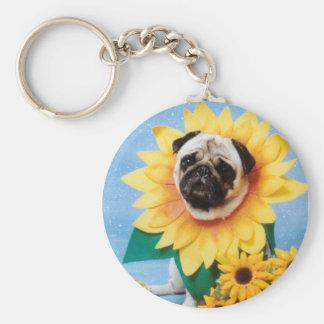 Pug Dog Sunflower Keychain