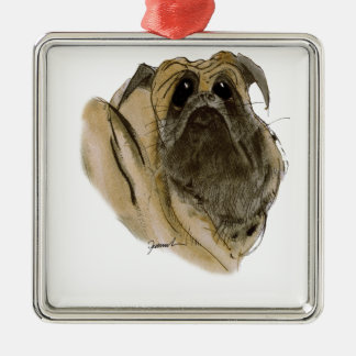 pug dog, tony fernandes christmas ornament