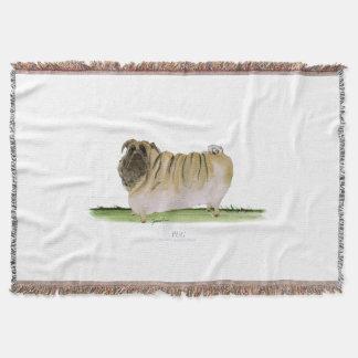 pug dog, tony fernandes throw blanket