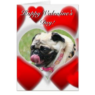 Pug dog Valentines Day Card