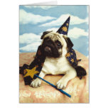 Pug Dog Wizard Magician Greeting Card