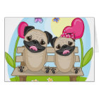 Pug Dogs In Love Card