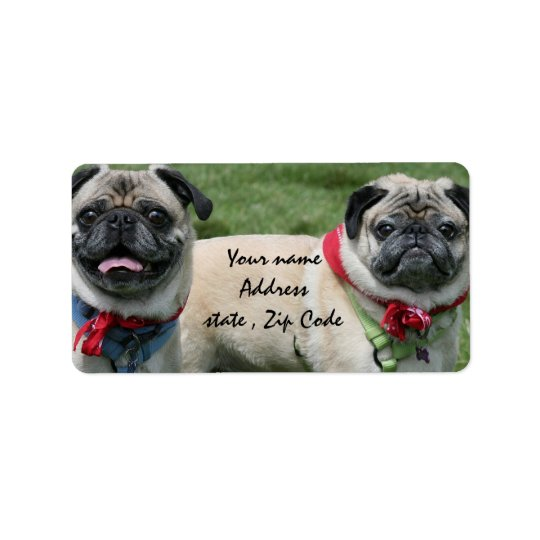 Pug dogs shipping labels
