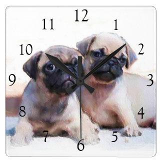 Pug dogs square clock